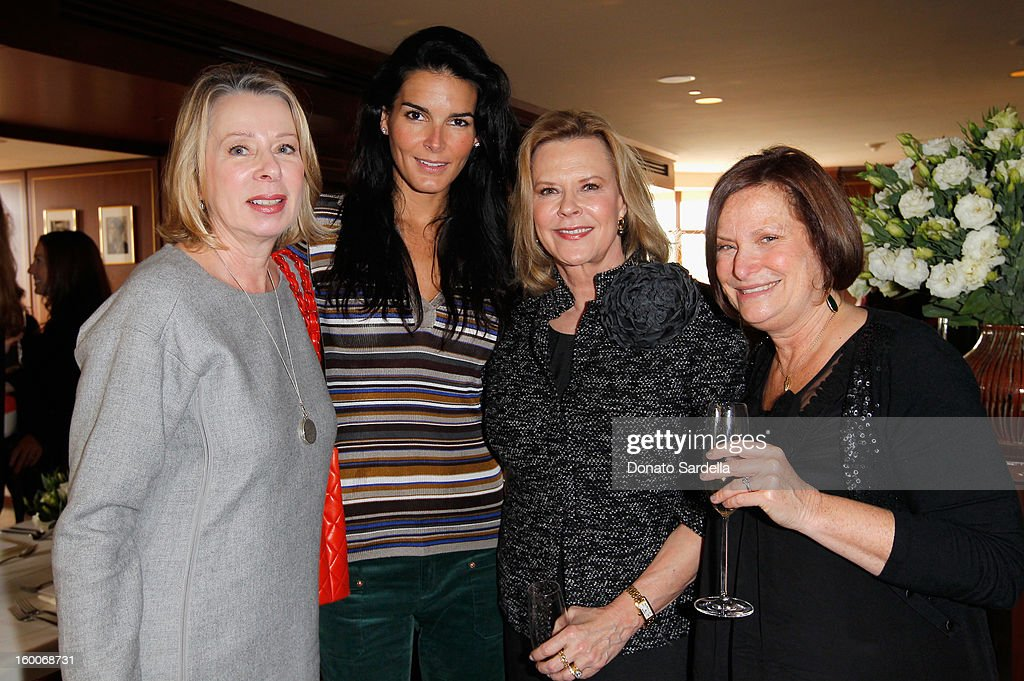 Writer Diane English (L), actress Angie Harmon, and host Cathy Sandrich Gelfond (R) attends the Champagne Taittinger Women in Hollywood Lunch hosted by Vitalie Taittinger at Sunset Tower on January 25, 2013 in West Hollywood, California.