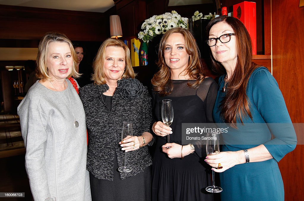 Writer Diane English (L) Vitalie Taittinger (C) and guests attend the Champagne Taittinger Women in Hollywood Lunch hosted by Vitalie Taittinger at Sunset Tower on January 25, 2013 in West Hollywood, California.