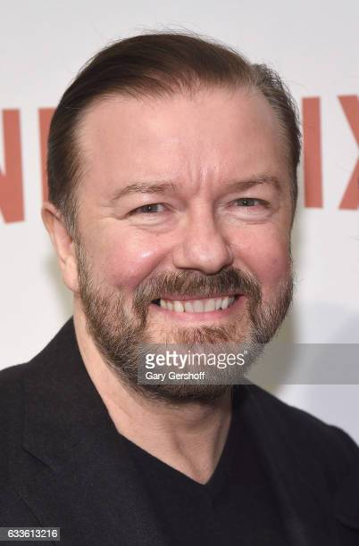 Writer director and actor Ricky Gervais attends 'David Brent Life on the Road' New York Screening at Metrograph on February 2 2017 in New York City