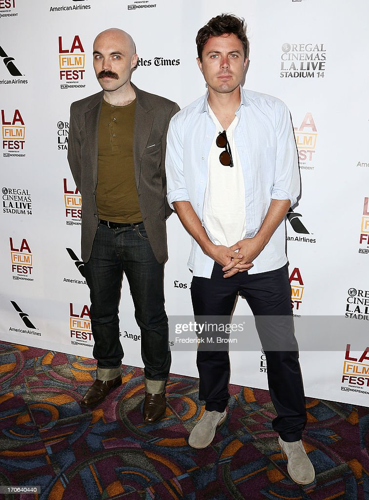 Writer director David Lowery (L) and actor <a gi-track='captionPersonalityLinkClicked' href=/galleries/search?phrase=Casey+Affleck&family=editorial&specificpeople=1539212 ng-click='$event.stopPropagation()'>Casey Affleck</a> attend the 2013 Los Angeles Film Festival screening of IFC Films' 'Ain't Them Bodies Saints' at the Regal Cinemas L.A. Live on June 15, 2013 in Los Angeles, California.