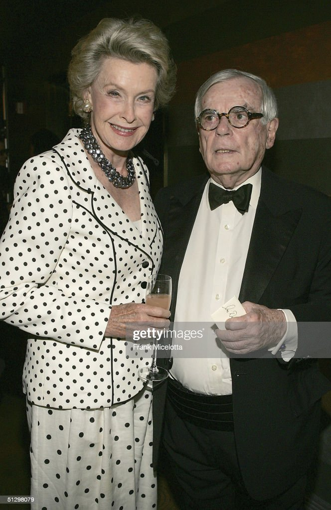 Writer Dominick Dunne and Dina Merrill at the surprise 80th birthday party for legendary musician Bobby Short, September 12, 2004 at the Rainbow Room in New York City.