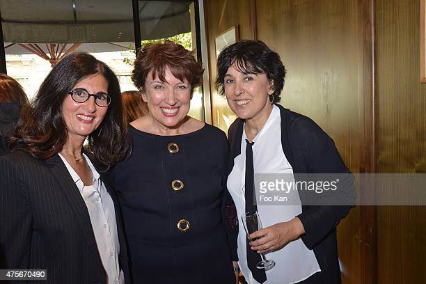 writer Dominique Dyens minister Roselyne Bachelot and Isabelle Alonso from Les Chiennes De Garde attend the Marie Claire Magazine Litterary Awards...