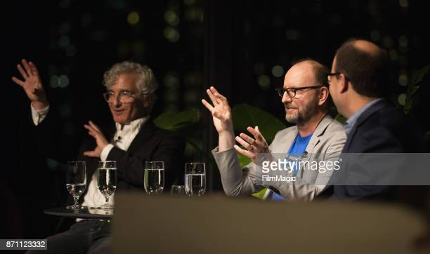 Writer Ed Solomon Director and Filmmaker Steven Soderbergh and Geekwire Editor Todd Bishop speak during an exclusive first look at interactive...