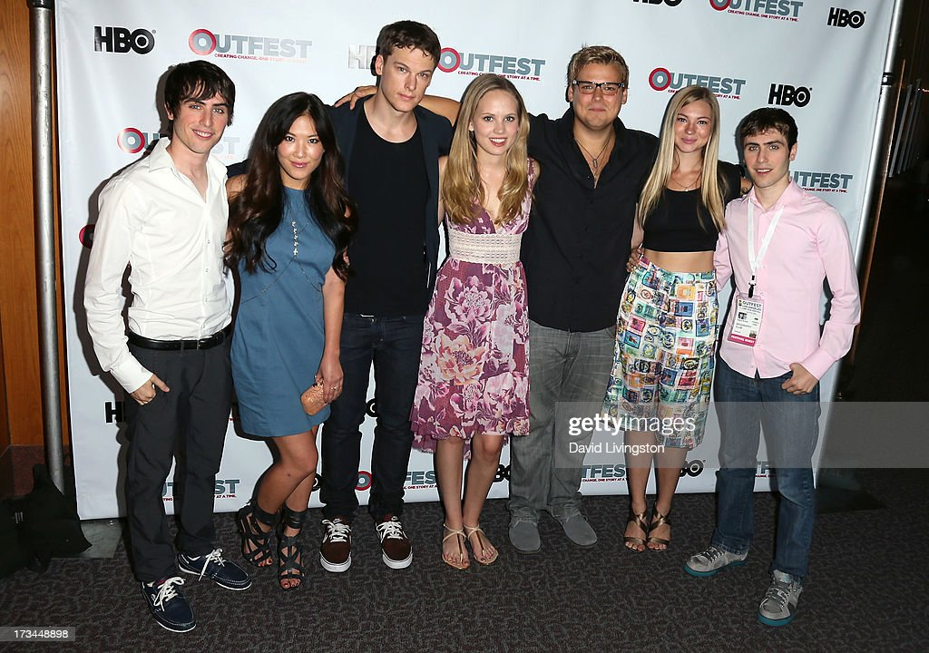 Writer Edmund Entin, actors <a gi-track='captionPersonalityLinkClicked' href=/galleries/search?phrase=Ally+Maki&family=editorial&specificpeople=2499490 ng-click='$event.stopPropagation()'>Ally Maki</a>, Grant Harvey, Meaghan Martin, Andrew Caldwell and Allie Gonio and director Gary Entin attend the 2013 Outfest Film Festival 'Geography Club' screening at the Directors Guild Of America on July 14, 2013 in Los Angeles, California.