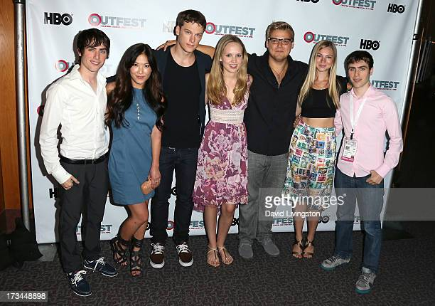 Writer Edmund Entin actors Ally Maki Grant Harvey Meaghan Martin Andrew Caldwell and Allie Gonio and director Gary Entin attend the 2013 Outfest Film...