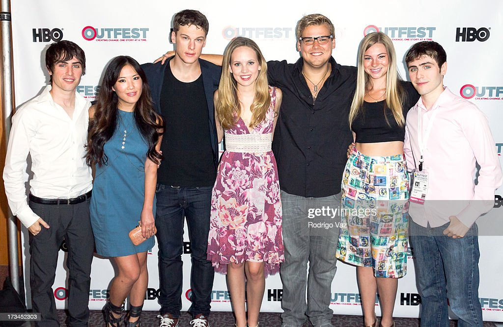 Writer Edmund Entin, actors <a gi-track='captionPersonalityLinkClicked' href=/galleries/search?phrase=Ally+Maki&family=editorial&specificpeople=2499490 ng-click='$event.stopPropagation()'>Ally Maki</a>, Grant Harvey, Meaghan Martin, Andrew Caldwell, Allie Gonio and director Gary Entin arrive at the 2013 Outfest Film Festival - 'Geography Club' screening at Directors Guild Of America on July 14, 2013 in Los Angeles, California.