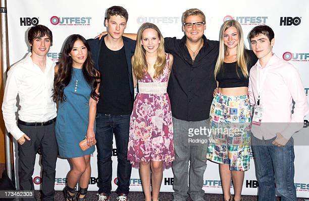 Writer Edmund Entin actors Ally Maki Grant Harvey Meaghan Martin Andrew Caldwell Allie Gonio and director Gary Entin arrive at the 2013 Outfest Film...