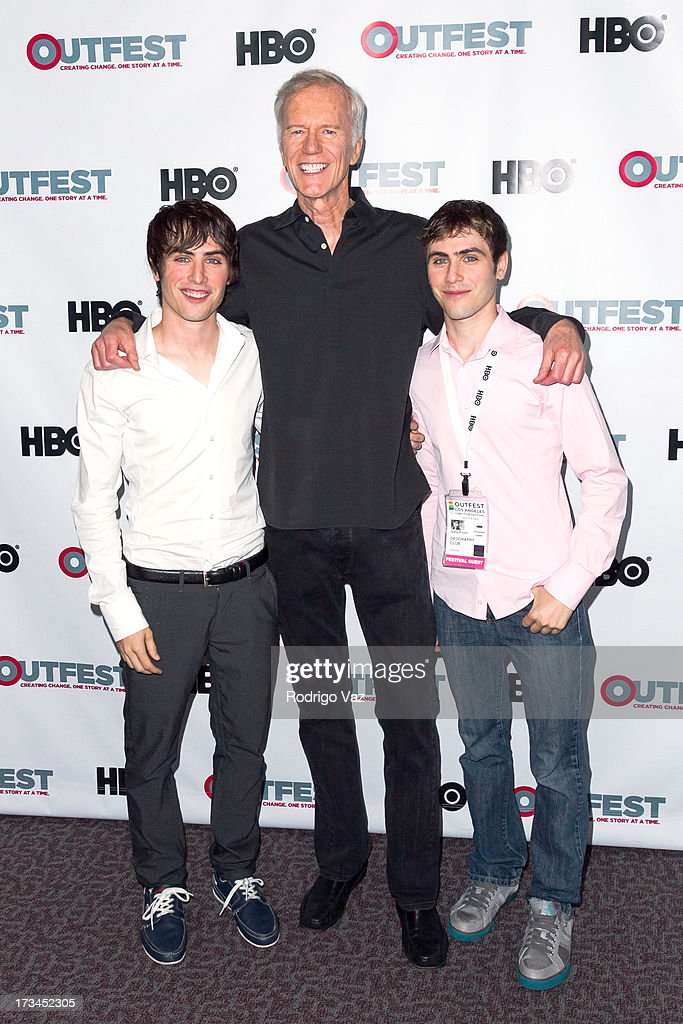Writer Edmund Entin, producer Michael Huffington and director Gary Entin arrive at the 2013 Outfest Film Festival - 'Geography Club' screening at Directors Guild Of America on July 14, 2013 in Los Angeles, California.