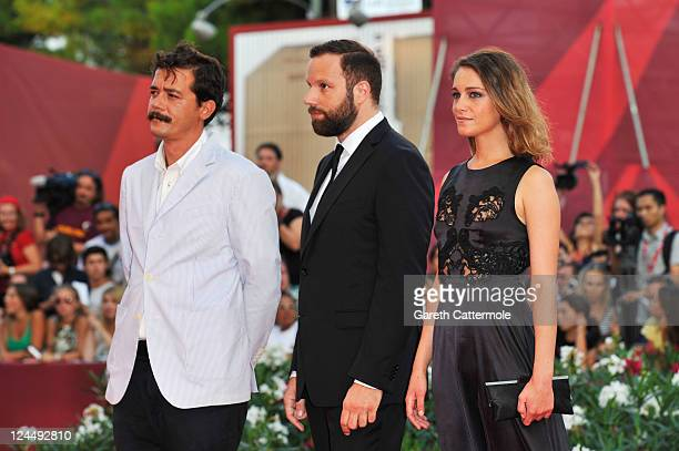 Writer Efthymis Filippou filmmaker Yorgos Lanthimos and actress Ariane Labed of 'Alps' attend the 'Damsels In Distress' premiere and closing ceremony...