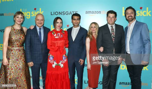 Writer Emily V Gordon actors Anupam Kher Zoe Kazan Kumail Nanjiani Holly Hunter director Michael Showalter and actor Ray Romano attends 'The Big...