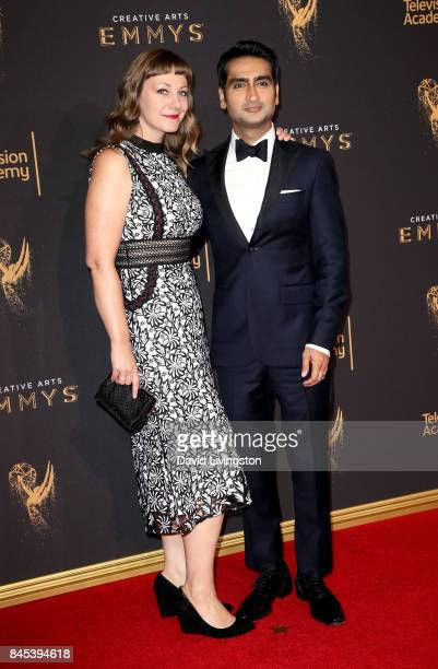 Writer Emily V Gordon and comedian Kumail Nanjiani attend the 2017 Creative Arts Emmy Awards at Microsoft Theater on September 10 2017 in Los Angeles...