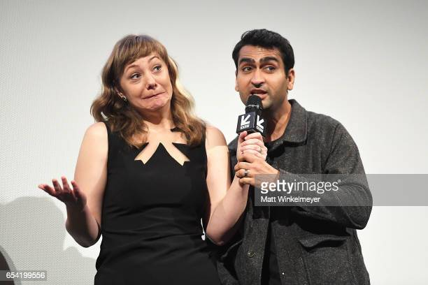 Writer Emily V Gordon and writer/actor Kumail Nanjiani attend the 'The Big Sick' premiere 2017 SXSW Conference and Festivals on March 16 2017 in...