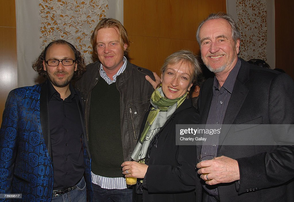 Writer Emmanuel Benbihy, Jonathan Craven, producer Iya Labunka, and director <a gi-track='captionPersonalityLinkClicked' href=/galleries/search?phrase=Wes+Craven&family=editorial&specificpeople=757035 ng-click='$event.stopPropagation()'>Wes Craven</a> attend a cocktail reception before the Los Angeles premiere of 'Paris, Je T'Aime', part of the 11th Annual City Of Lights, City Of Angeles French Film Festival, at The Director's Guild Theater Complex on April 20, 2007 in Los Angeles, California.
