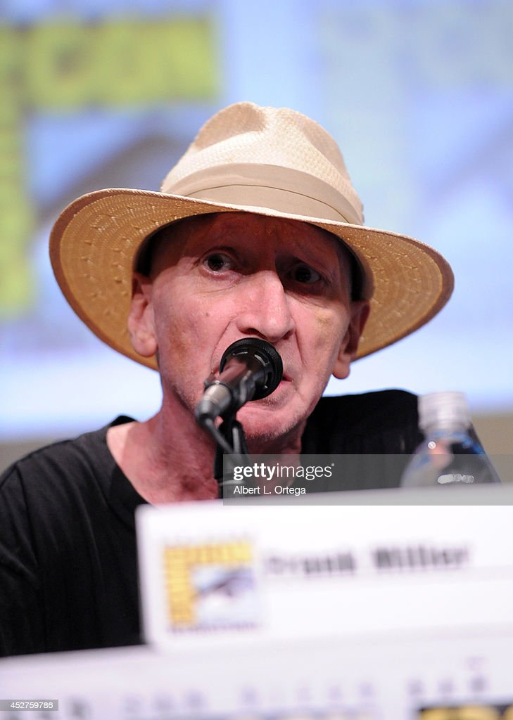 Writer <a gi-track='captionPersonalityLinkClicked' href=/galleries/search?phrase=Frank+Miller+-+Comic+Book+Artist&family=editorial&specificpeople=13488458 ng-click='$event.stopPropagation()'>Frank Miller</a> attends '<a gi-track='captionPersonalityLinkClicked' href=/galleries/search?phrase=Frank+Miller+-+Comic+Book+Artist&family=editorial&specificpeople=13488458 ng-click='$event.stopPropagation()'>Frank Miller</a>'s Sin City: A Dame To Kill For' panel during Comic-Con International 2014 at San Diego Convention Center on July 26, 2014 in San Diego, California.
