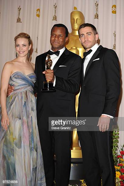 Writer Geoffrey Fletcher and with presenters Rachel McAdams and Jake Gyllenhaal pose in the press room at the 82nd Annual Academy Awards held at the...