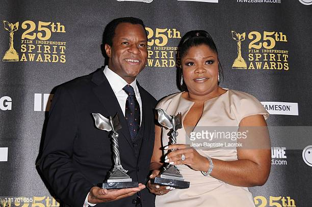 Writer Geoffrey Fletcher poses with Mo'Nique in the press room at the 25th Film Independent Spirit Awards held at Nokia Theatre LA Live on March 5...