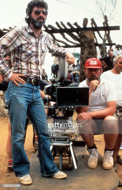 Writer George Lucas on set of the film 'Indiana Jones And The Temple Of Doom' 1984