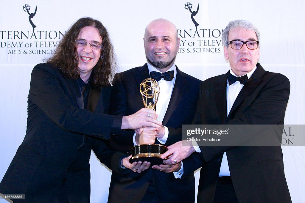 Writer Geraldo Carneiro and director Mauro Mendonca Filho attend the 40th International Emmy Awards at Mercury Ballroom at the New York Hilton on November 19, 2012 in New York City.