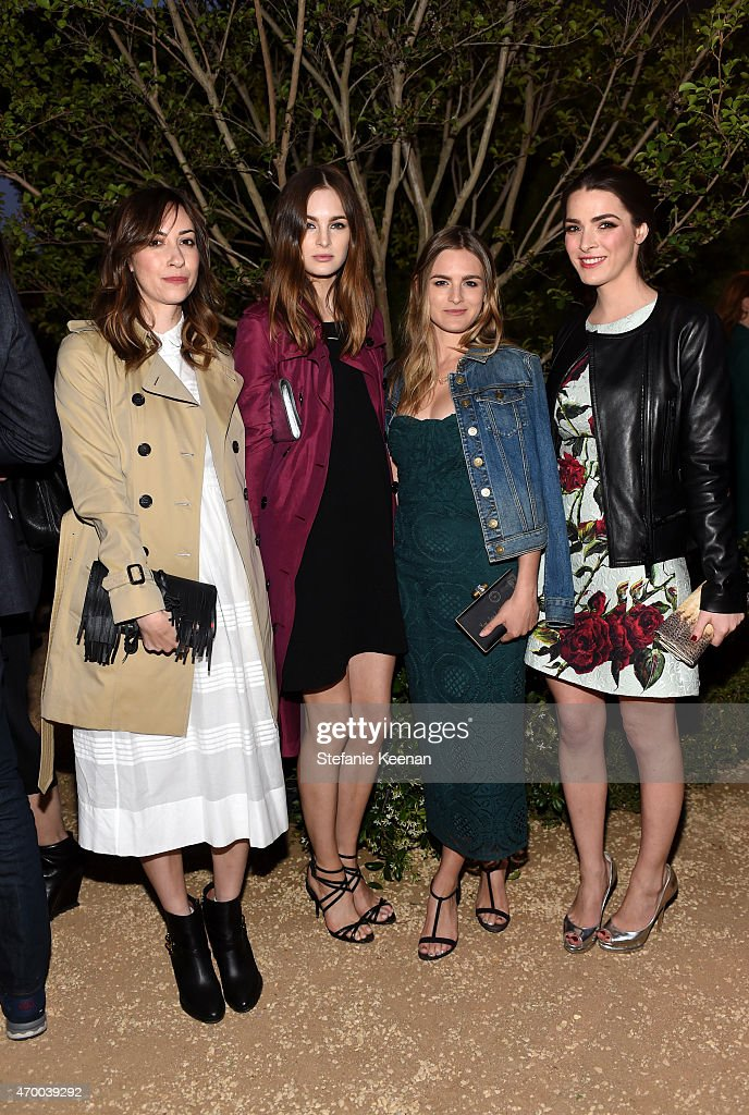 Writer Gia Coppola, model Laura Love, actress Nathalie Love and Bee Shaffer attend the Burberry 'London in Los Angeles' event at Griffith Observatory on April 16, 2015 in Los Angeles, California.