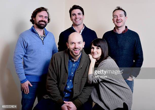 Writer Giles Andrew actors Paul Scheer Miles Fisher and Carla Gallo and writer Dan Marshall from the series 'Playdates' pose for a portrait in the...