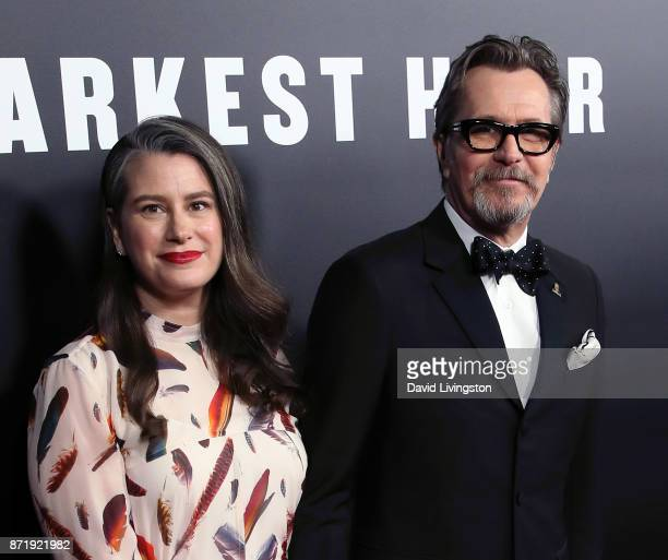 Writer Gisele Schmid and actor Gary Oldman attend the premiere of Focus Features' 'Darkest Hour' at the Samuel Goldwyn Theater on November 8 2017 in...