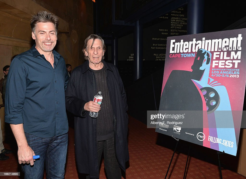 EW writer Goeff Boucher and actor Leonard Nimoy attend Entertainment Weekly's CapeTown Film Festival presented by The American Cinematheque and sponsored by TNT's 'Falling Skies' at the Egyptian Theatre on May 6, 2013 in Hollywood, California.