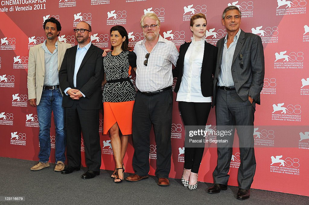 Writer Grant Heslov, actors Paul Giamatti, Marisa Tomei, Philip Seymour Hoffman, Evan Rachel Wood and director George Clooney poses at 'The Ides Of March' photocall during the 68th Venice Film Festival at the Palazzo del Cinema on August 31, 2011 in Venice, Italy.