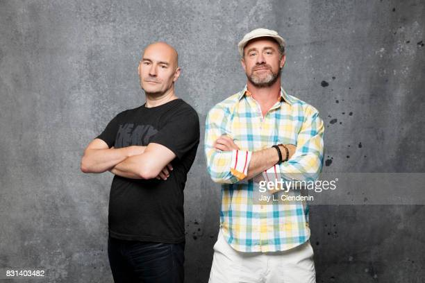 Writer Grant Morrison and actor Christopher Meloni from the television series 'Happy' are photographed in the LA Times photo studio at ComicCon 2017...