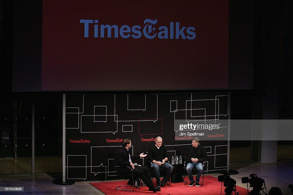 Writer Hugo Lindgren, actor Matt Damon and director Gus Van Sant attend TimesTalk Presents An Evening With Marion Cotillard, Matt Damon & Gus Van Sant at TheTimesCenter on November 27, 2012 in New York City.