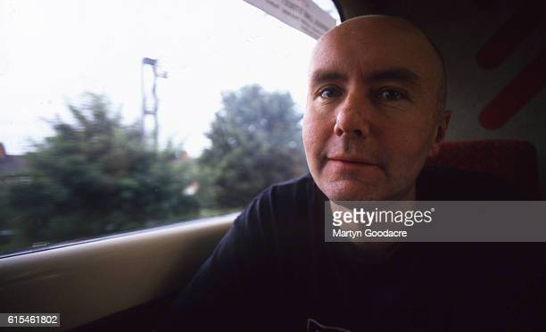 Writer Irvine Welsh on board a British Rail Inter City train United Kingdom 1995