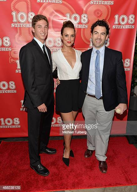 Writer Jake Katofsky and actors Erin Cahill and Evan O'Brian attend the Los Angeles premiere of the film '108 Stitches' at Harmony Gold Theatre on...