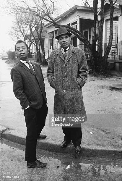Writer James Baldwin stands with civil rights activist James Meredith in Jackson Mississippi