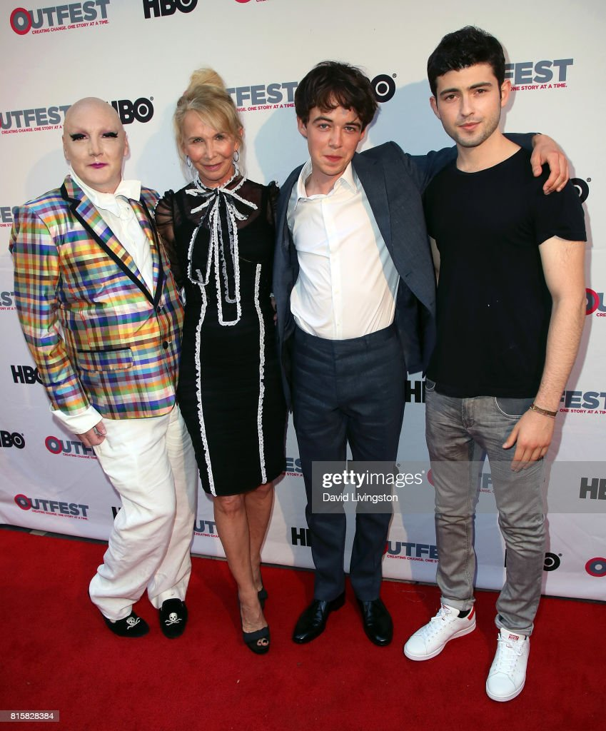 Writer James St. James, producer/director Trudie Styler and actors Alex Lawther and Ian Nelson attend the 2017 Outfest Los Angeles LGBT Film Festival closing night gala screening of 'Freak Show' at The Theatre at Ace Hotel on July 16, 2017 in Los Angeles, California.