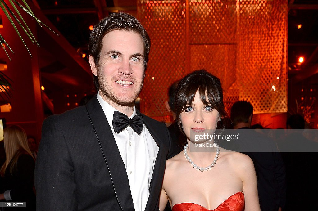 Writer Jamie Linden (L) and actress Zooey Deschanel attend the FOX After Party for the 70th Annual Golden Globe Awards held at The FOX Pavillion at The Beverly Hilton Hotel on January 13, 2013 in Beverly Hills, California.