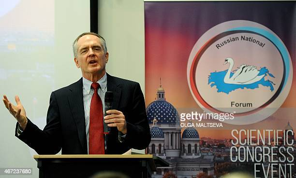 US writer Jared Taylor speaks during the International Russian Conservative Forum in SaintPetersburg on March 22 2015 Representatives of about a...