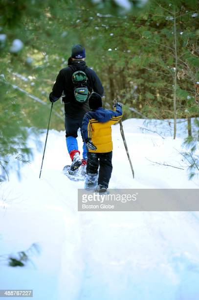 Writer Jay Jay Atkinson and his two nephews Shane Bauer and Owen Bower not pictured enjoy a day of snowshoeing at the Methuen Town Forest on February...