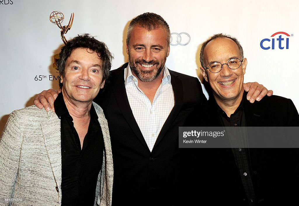 Writer Jeffrey Klarik, actor Matt LeBlanc and writer David Crane arrive at the 65th Primetime Emmy Awards Writer Nominees reception at the Academy of Television Arts & Sciences on September 19, 2013 in No. Hollywood, California.