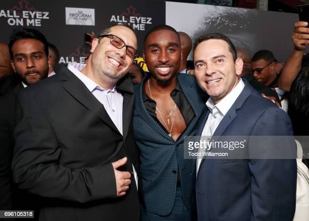 Writer Jeremy Haft actor Demetrius Shipp Jr and writer Eddie Gonzalez at the 'ALL EYEZ ON ME' Premiere at Westwood Village Theatre on June 14 2017 in...