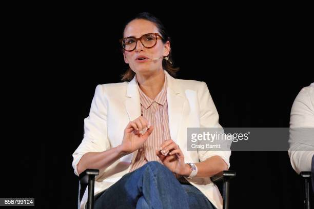 Writer Jessi Klein speaks onstage during panel PTSD with Andy Borowitz and Friends at New York Society for Ethical Culture on October 7 2017 in New...