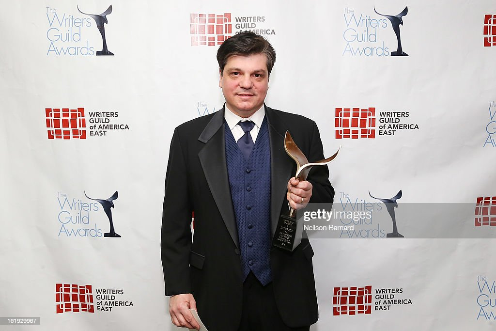 Writer John Esposito poses backstage at the 65th annual Writers Guild East Coast Awards at B.B. King Blues Club & Grill on February 17, 2013 in New York City.
