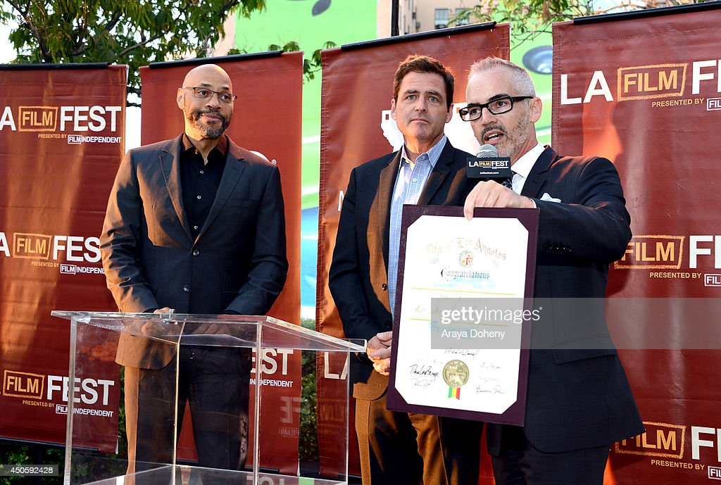 Writer <a gi-track='captionPersonalityLinkClicked' href=/galleries/search?phrase=John+Ridley&family=editorial&specificpeople=2310489 ng-click='$event.stopPropagation()'>John Ridley</a>, President of Film Independent <a gi-track='captionPersonalityLinkClicked' href=/galleries/search?phrase=Josh+Welsh&family=editorial&specificpeople=5431194 ng-click='$event.stopPropagation()'>Josh Welsh</a> and Mitch O'Farrell, Los Angeles City Council District 13, attend the Filmmaker Reception during the 2014 Los Angeles Film Festival at Club Nokia on June 13, 2014 in Los Angeles, California.