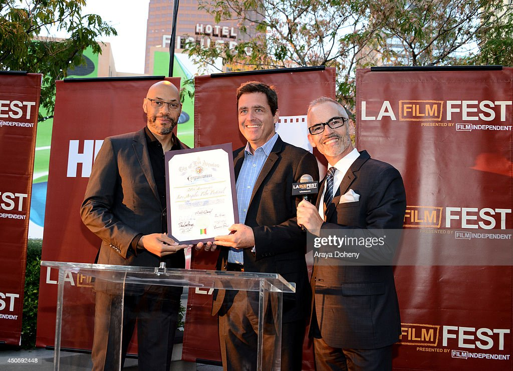 Writer John Ridley, President of Film Independent Josh Welsh and Mitch O'Farrell, Los Angeles City Council District 13, attend the Filmmaker Reception during the 2014 Los Angeles Film Festival at Club Nokia on June 13, 2014 in Los Angeles, California.