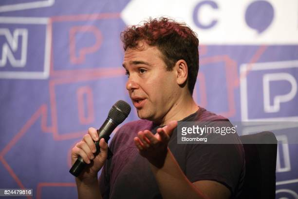 Writer Jon Lovett speaks during the Politicon convention inside the Pasadena Convention Center in Pasadena California US on Saturday July 29 2017...