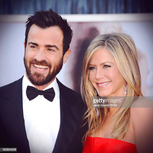 Writer Justin Theroux and actress Jennifer Aniston arrive at the 85th Annual Academy Awards at Hollywood Highland Center on February 24 2013 in...