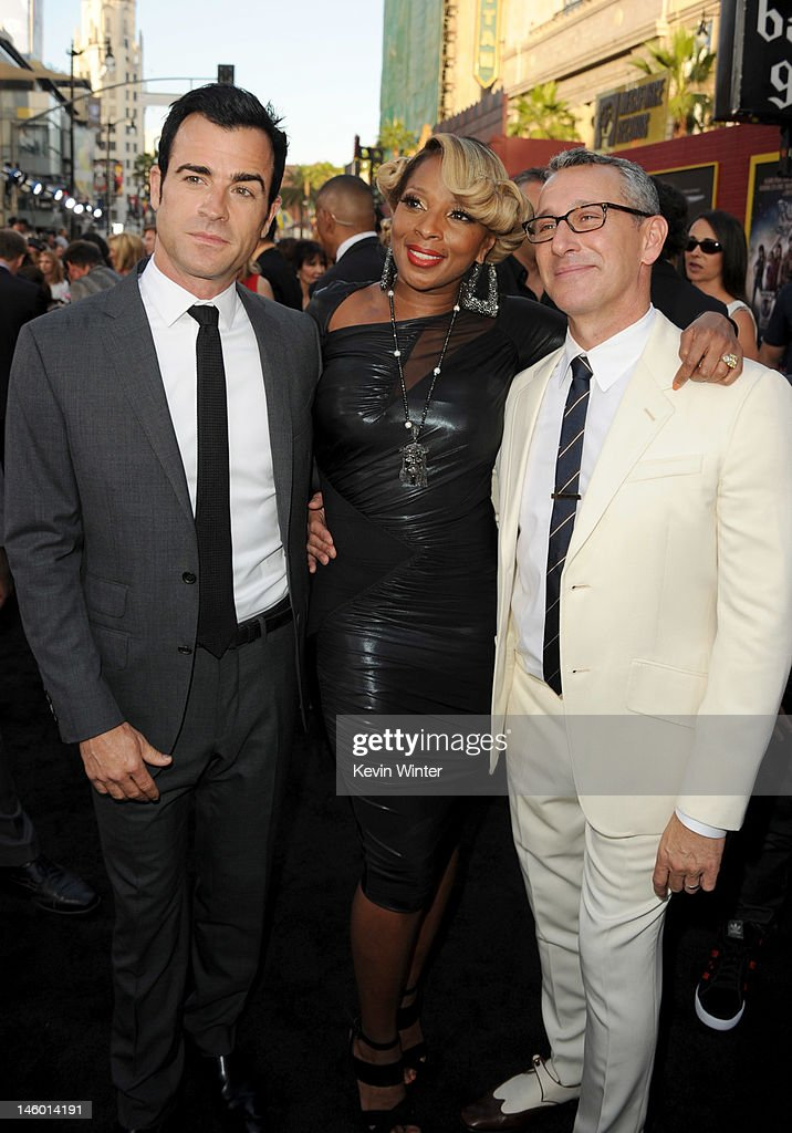 Writer Justin Theroux, singer/actress Mary J. Blige and director Adam Shankman arrive at the premiere of Warner Bros. Pictures' 'Rock of Ages' at Grauman's Chinese Theatre on June 8, 2012 in Hollywood, California.