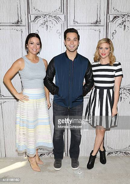 Writer Kay Cannon and actors Skylar Astin and Brittany Snow visit AOL Build at AOL Studios In New York on May 13 2015 in New York City