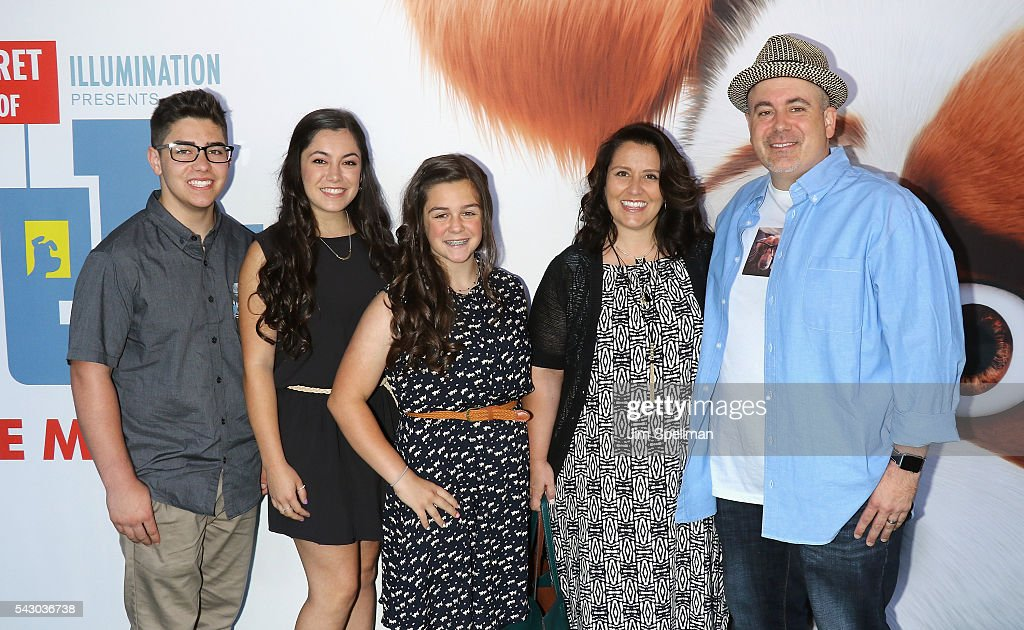 Writer Ken Daurio (R) and family attend the 'Secret Life Of Pets' New York premiere on June 25, 2016 in New York City.