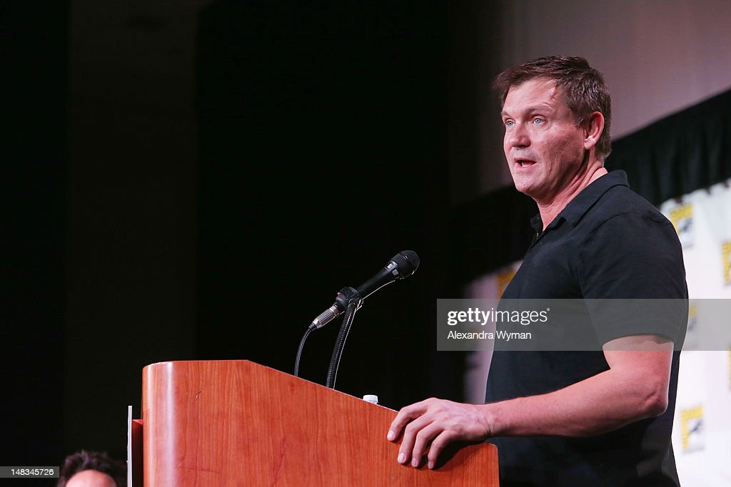 Writer <a gi-track='captionPersonalityLinkClicked' href=/galleries/search?phrase=Kevin+Williamson&family=editorial&specificpeople=631337 ng-click='$event.stopPropagation()'>Kevin Williamson</a> speaks at 'The Vampire Diaries' screening during Comic-Con International 2012 at San Diego Convention Center on July 14, 2012 in San Diego, California.