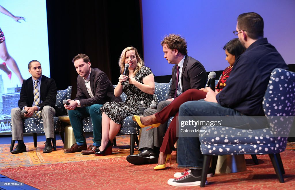 Writer Landon Young, Writer Chris Schleicher, Writer Lang Fisher, and Writer Matt Warburton, Writer and Actor <a gi-track='captionPersonalityLinkClicked' href=/galleries/search?phrase=Mindy+Kaling&family=editorial&specificpeople=743884 ng-click='$event.stopPropagation()'>Mindy Kaling</a> and TV Guide Senior Writer Damian Holbrook speak at 'The Mindy Project' event during aTVfest 2016 presented by SCAD on February 6, 2016 in Atlanta, Georgia.