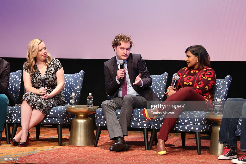Writer Lang Fisher, Writer Matt Warburton, and Writer and Actor <a gi-track='captionPersonalityLinkClicked' href=/galleries/search?phrase=Mindy+Kaling&family=editorial&specificpeople=743884 ng-click='$event.stopPropagation()'>Mindy Kaling</a> speak at 'The Mindy Project' event during aTVfest 2016 presented by SCAD on February 6, 2016 in Atlanta, Georgia.